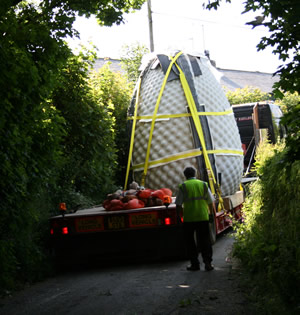 sculpture on its way to the Eden Project