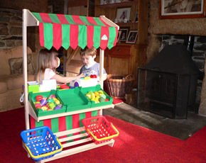 lots of toys, large and small at higher lank farm, child-friendly accommodation in cornwall