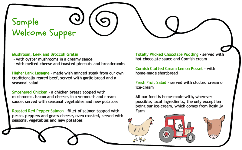 sample welcome supper at higher lank farm